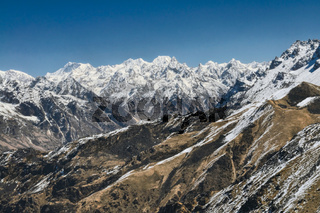 Panoramic view of mountains sloping down into a valley