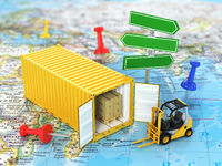 Open container with road sign and forklift stacker loader holding cardboard boxes on the world map. Transportation concept.