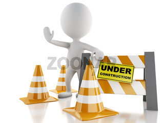 3d white people stop sign with traffic cones. Under construction concept.