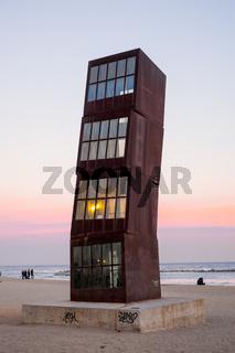 Der Strand von Barceloneta in der Dämemrung