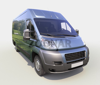 Blue commercial delivery van