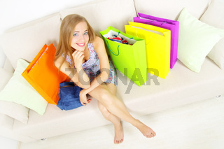 Stylish Girl with shopping bags