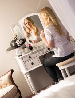 Beautiful Blonde Woman Brushing Hair Bedroom Vanity Natural Beauty
