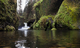 Standing in Water Punch Bowl Falls Columbia River Gorge