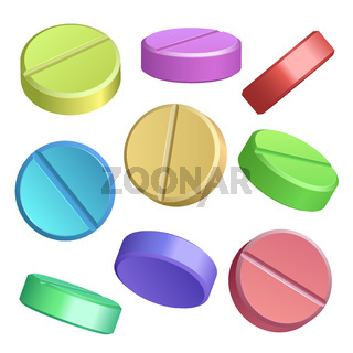 Set of color pill icons