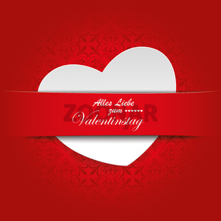 White Heart Convert Red Banner Ornaments