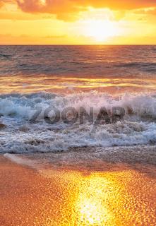 Sunset on Mai Khao beach in Phuket