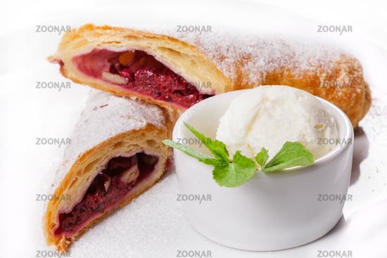 Tasty rolls with sweet berry jam