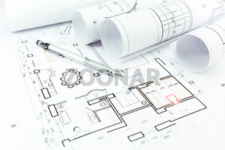 Home construction plans and pencil