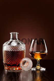 Alcohol in carafe and glass