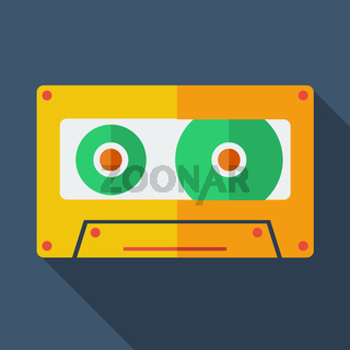 Modern flat design concept icon. Tape recorder. Vector illustration.