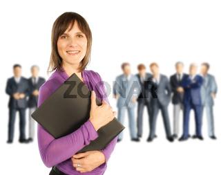 Geschäftsfrau und männliche Kollegen
