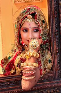 Girl in traditional dress taking part in Desert Festival, Jaisalmer, India