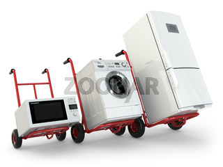 Appliance delivery. Hand truck, fridge, washing machine and microwave oven.
