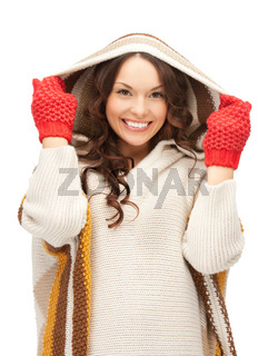 beautiful woman in mittens