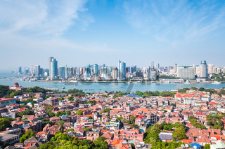 gulangyu island with xiamen skyline in daytime