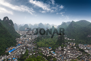 karst mountains around the yangshuo county