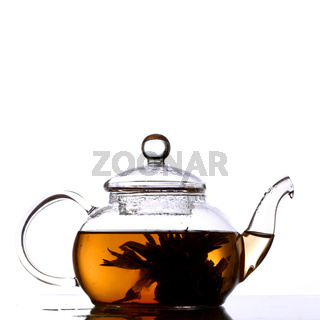 tea in glass pot isolated