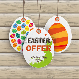 3 Easter Offer Price Sticker Wood