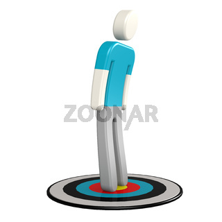 Man on target board
