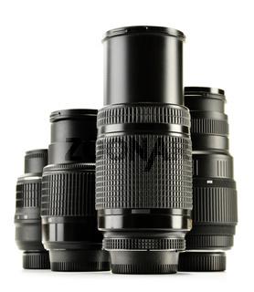 Photo zoom lenses isolated on white background.
