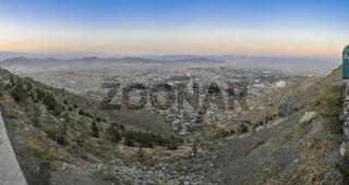 Scenic panorama of sunset in Kabul
