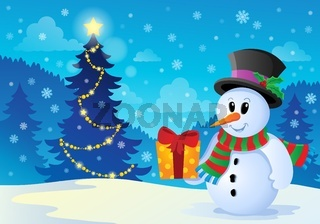 Christmas snowman theme image 1 - picture illustration.