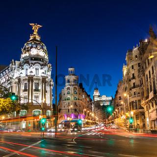 Gran Via in Madrid, Spain, Europe.