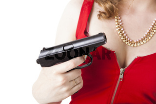 lady in red holding a pistol