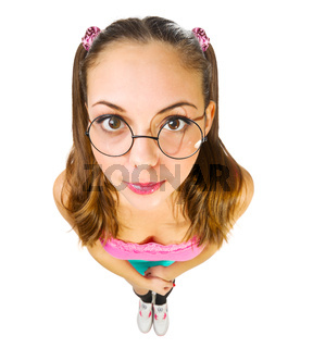 Funny schoolgirl in nerd glasses isolated