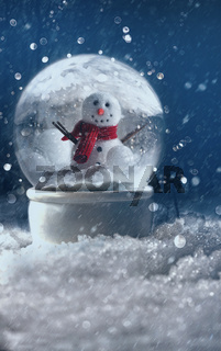 Snow globe in a snowy winter scene