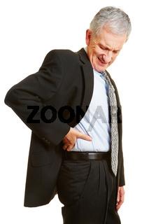 Alter Mann hat Rückenschmerzen