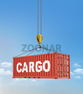 Metal freight shipping containers on the hooks at sky background.