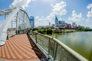 Nashville, Tennessee downtown skyline and streets