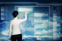 women push business web button