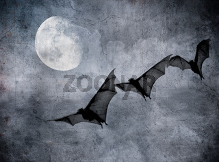 bats in the dark cloudy sky, perfect halloween background
