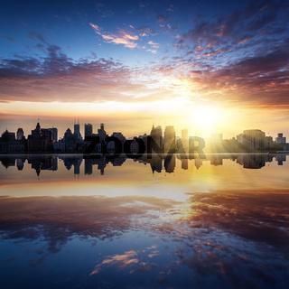 skyline of shanghai chian, sunset landscape
