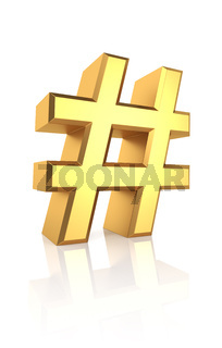 3D Gold Hash Sign