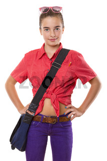 teenage girl with bag an sunglasses ready to go to school, isolated on white