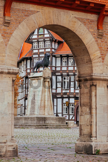 Lion statue and old timbered house in Braunschweig patio