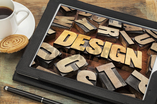 design  word on digital tablet