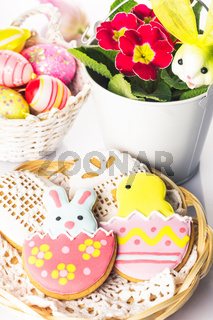 Easter cookies and decorative eggs