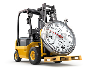 Forklift truck with stopwatch .Express delivery concept.