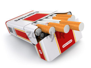 Cigarette pack on white isolated background.