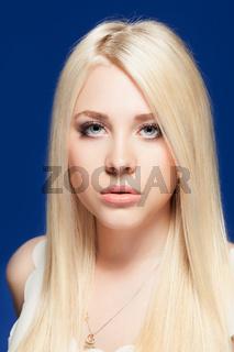 young woman close up studio portrait