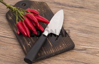 Küchenmesser und Chilli