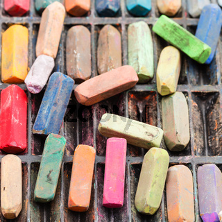set of many used artistic dry pastels