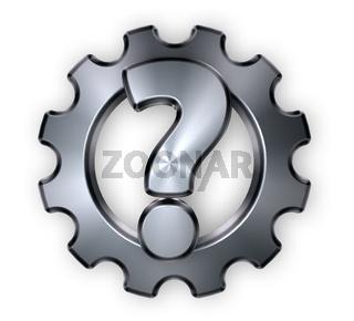 fragezeichen und zahnrad aus metall - 3d illustration