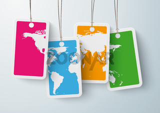 Four Colored Price Stickers World Map