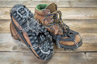 hiking boots with crampons